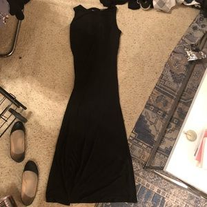 FOREVER 21+ BLACK LACE UP BACK MAXI DRESS W/ SLIT